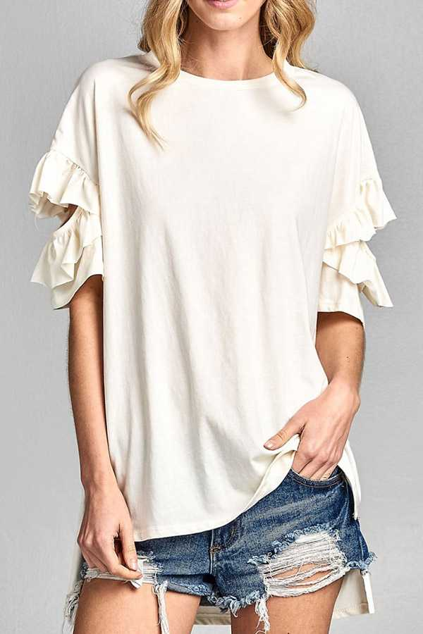 SOLID RUFFLED CUTOUT SLEEVE TOP