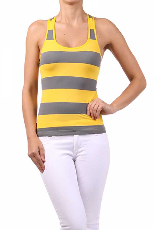 Heather striped racer back top with a round neckline
