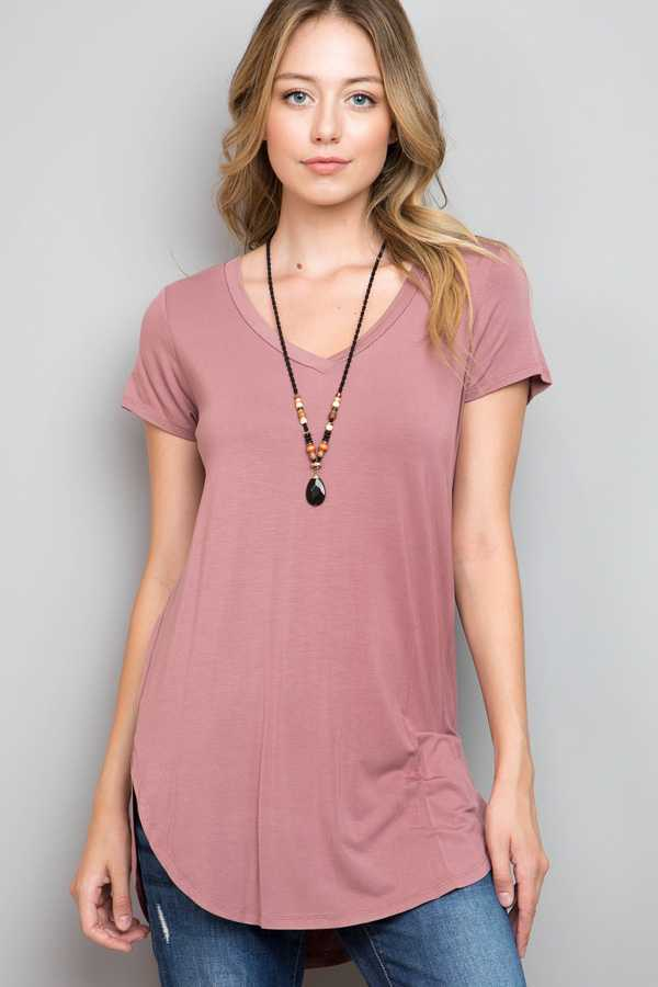 SOLID V-NECK TUNIC TOP