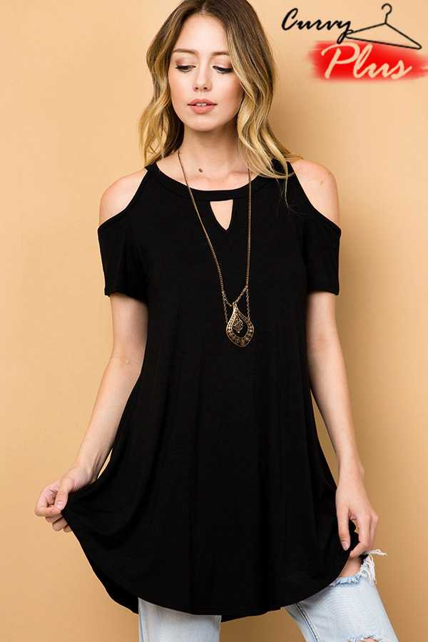 PLUS SOLID COLD SHOULDER TUNIC TOP