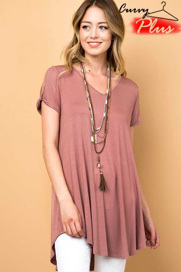 PLUS SOLID V-NECK TWISTED OPEN SLEEVE TOP