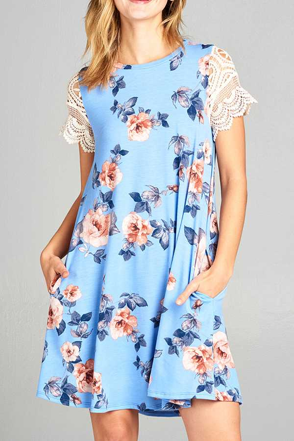 FLORAL PRINT LACE SHORT SLEEVE SWING DRESS