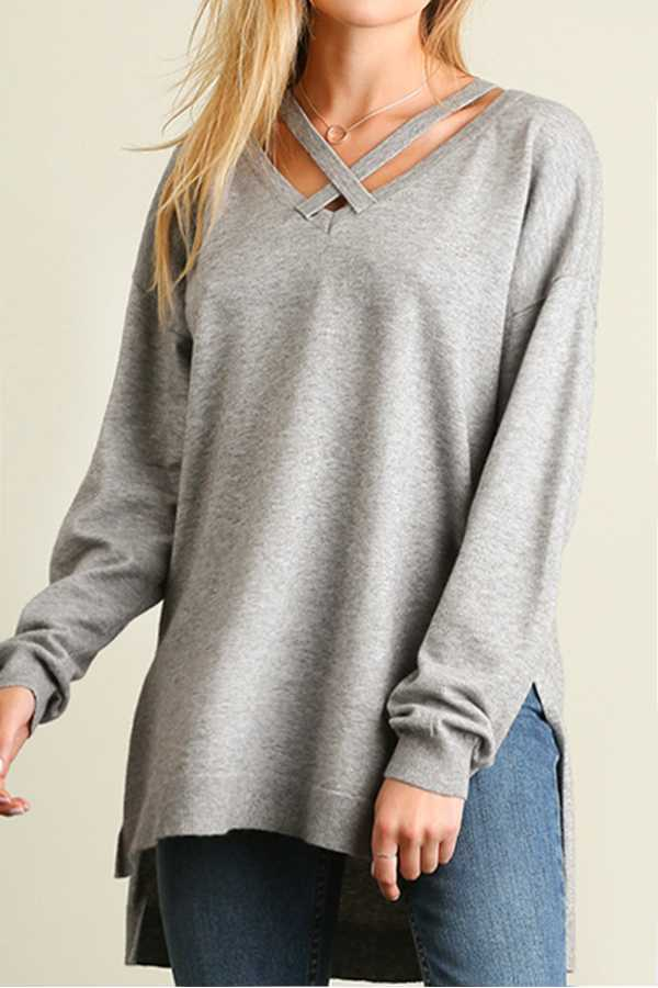 SOLID TUNIC SWEAT TOP