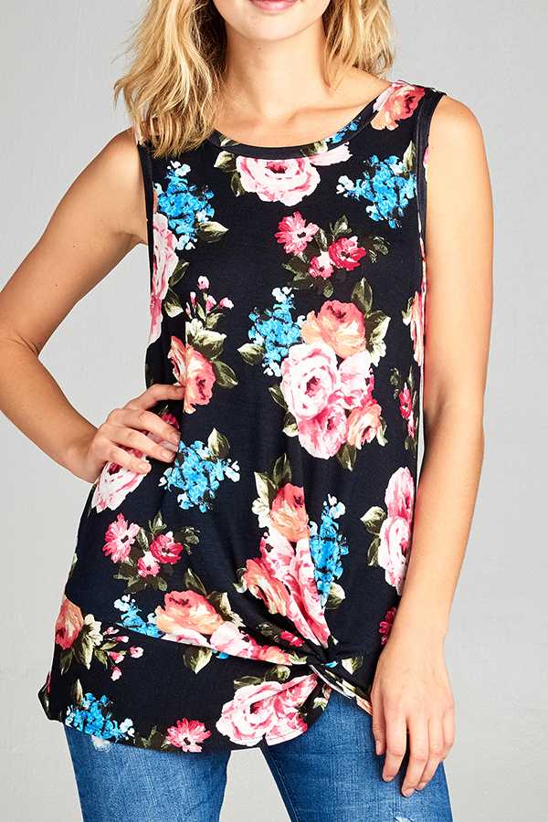 FLORAL PRINT TWIST KNOT SLEEVELESS TOP