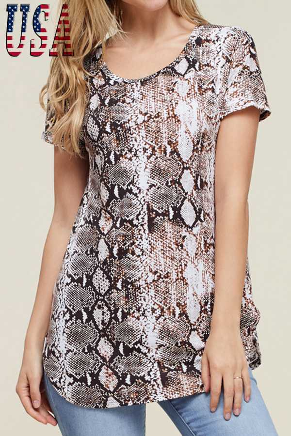 SNAKESKIN PRINT SHORT-SLEEVE TOP