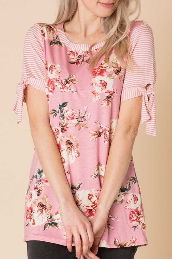 FLORAL PRINT SHORT-SLEEVE TOP
