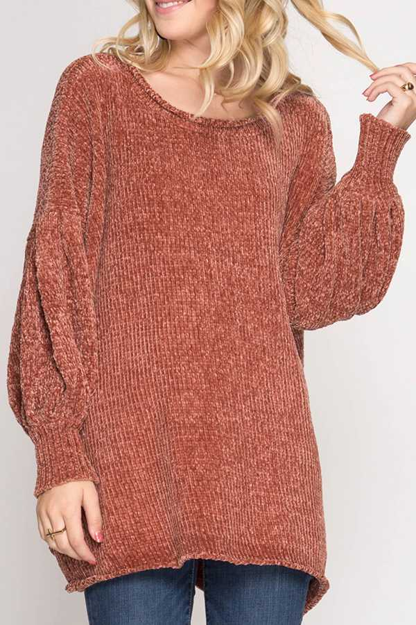 SOLID TUNIC SWEATER
