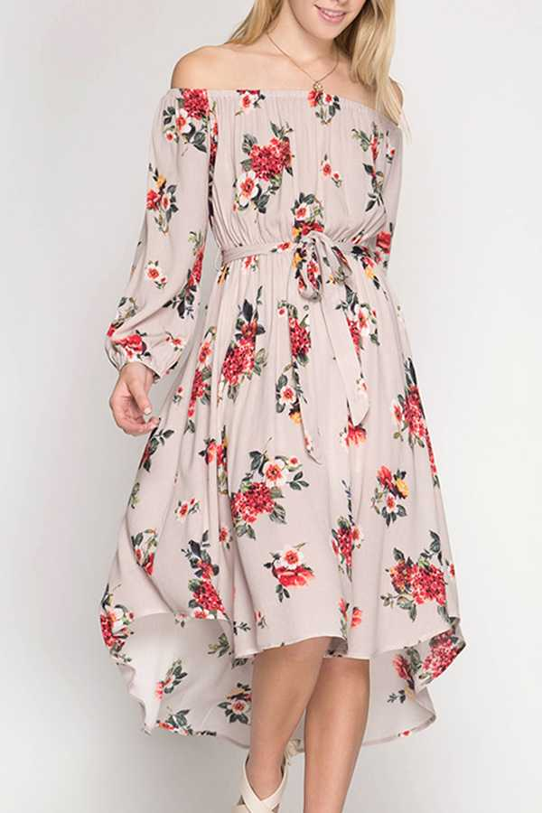 [PREORDER 05/15/18] FLORAL PRINT OFF SHOULDER DRESS