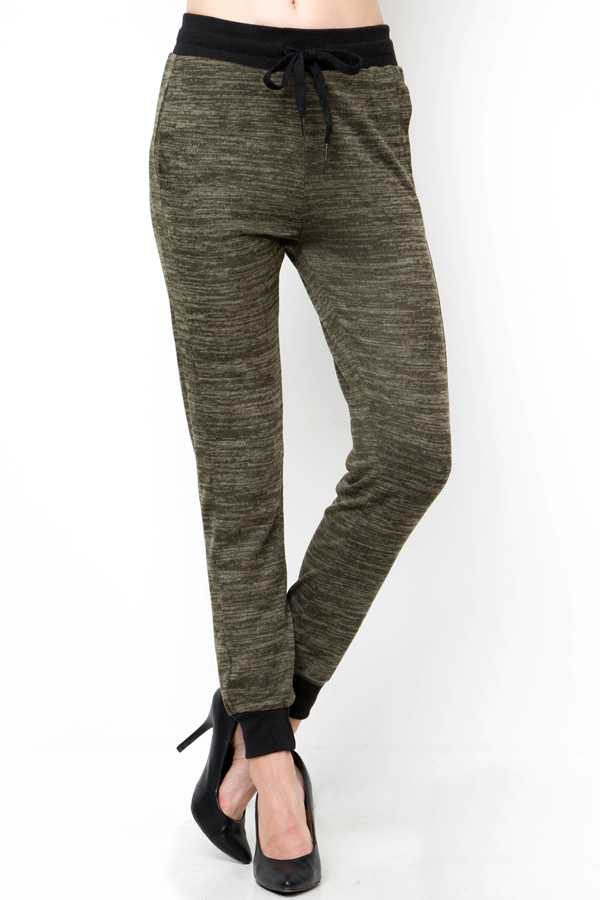 HEATHERED KNIT DRAWSTRING JOGGER