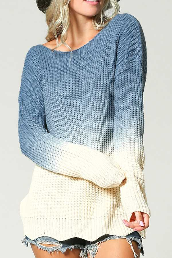 OMBRE DYE ROUND NECK SWEATER