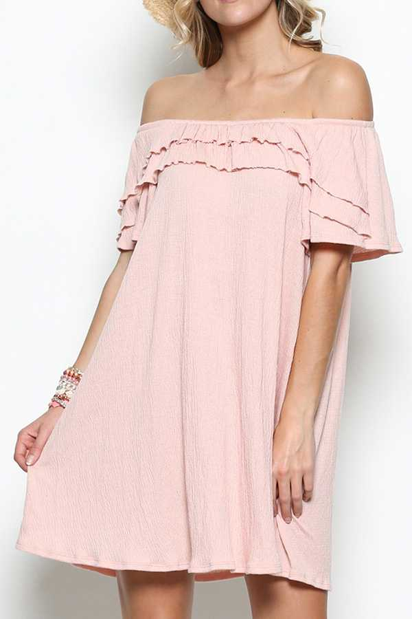 SOLID LAYERED RUFFLE OFF SHOULDER TUNIC DRESS