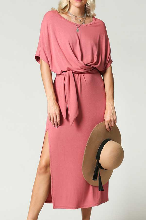SOLID JERSEY MIDI DRESS