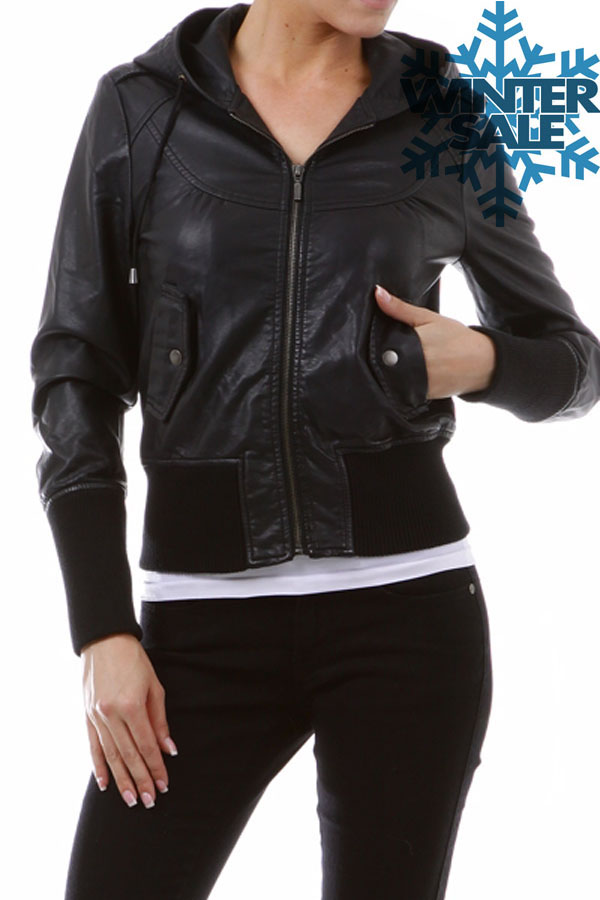 FAUX LEATHER BOMBER JACKET