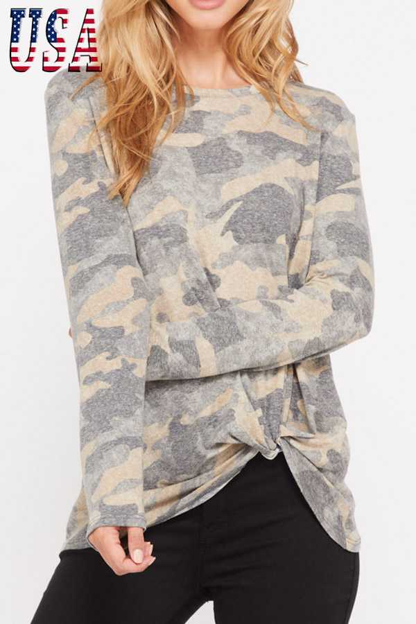 CAMO PRINT LONG SLEEVE TOP