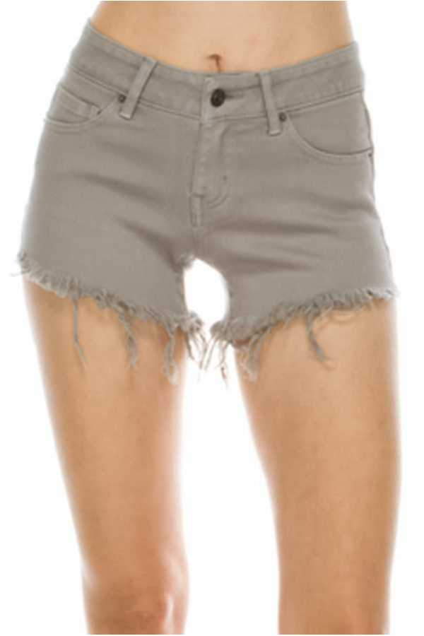 SOLID FRAYED SHORTS