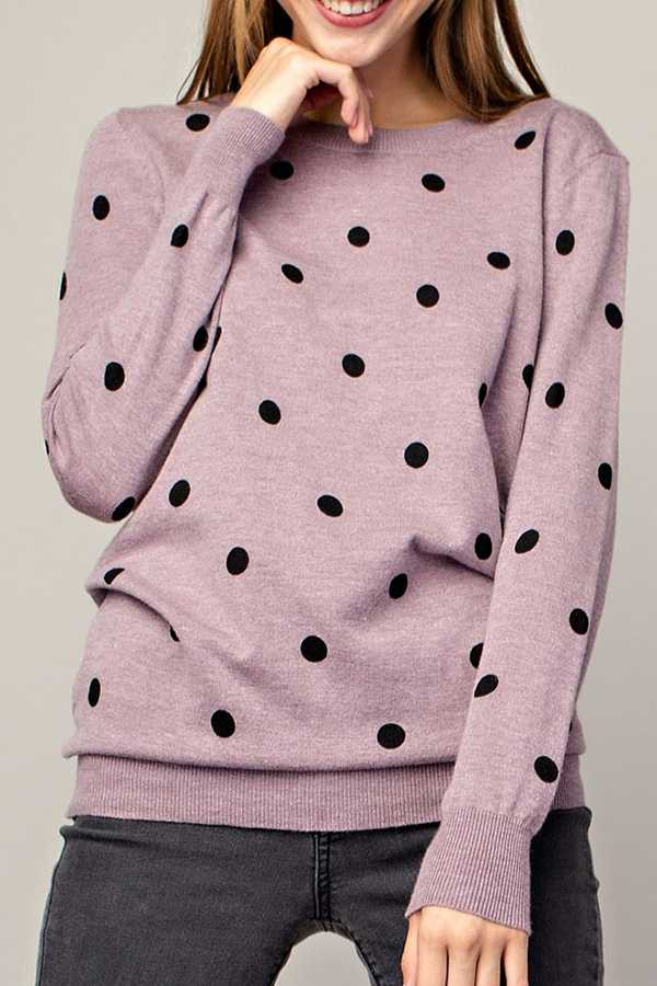 POLKA DOT CREW-NECK TOP
