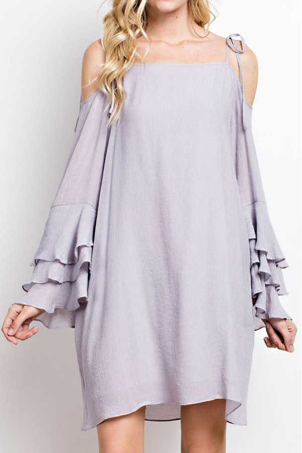 SOLID OPEN SHOULDER DRESS