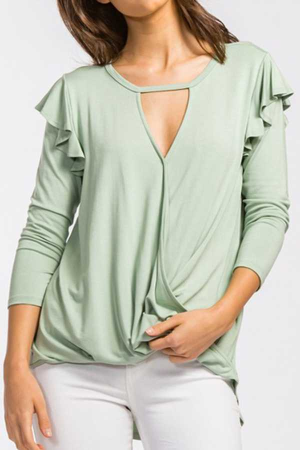 SOLID V-NECK RUFFLED TOP