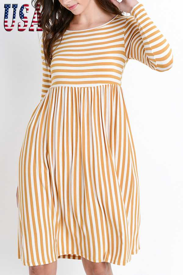 STRIPED PRINT BABY-DOLL DRESS