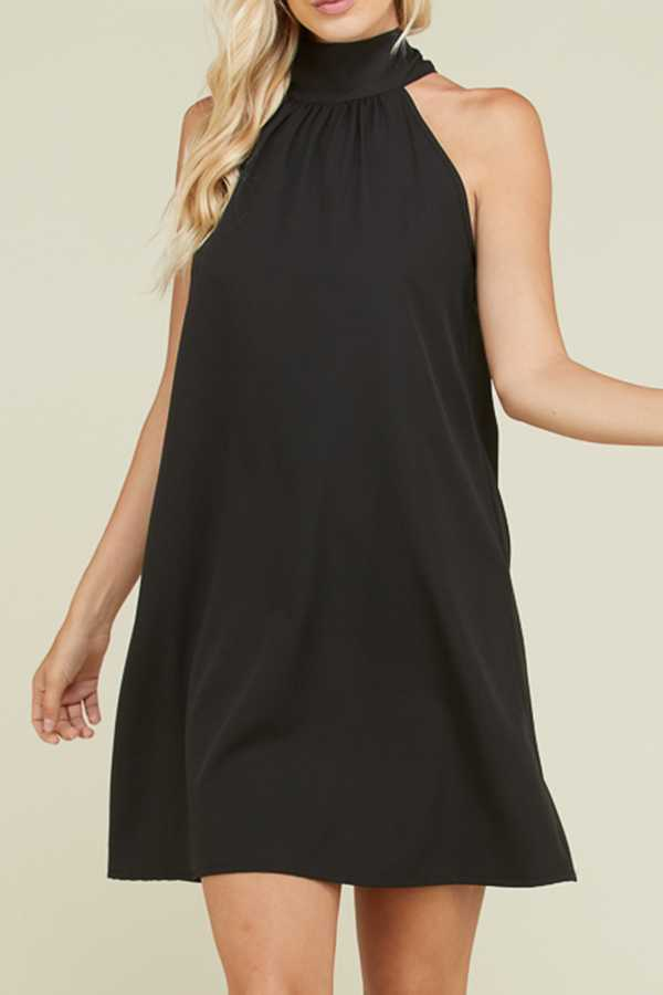 SOLID HALTER-NECK DRESS