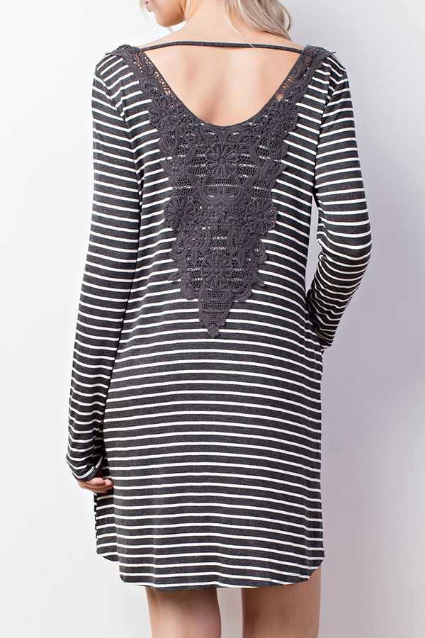 STRIPED JERSEY SHIFT DRESS