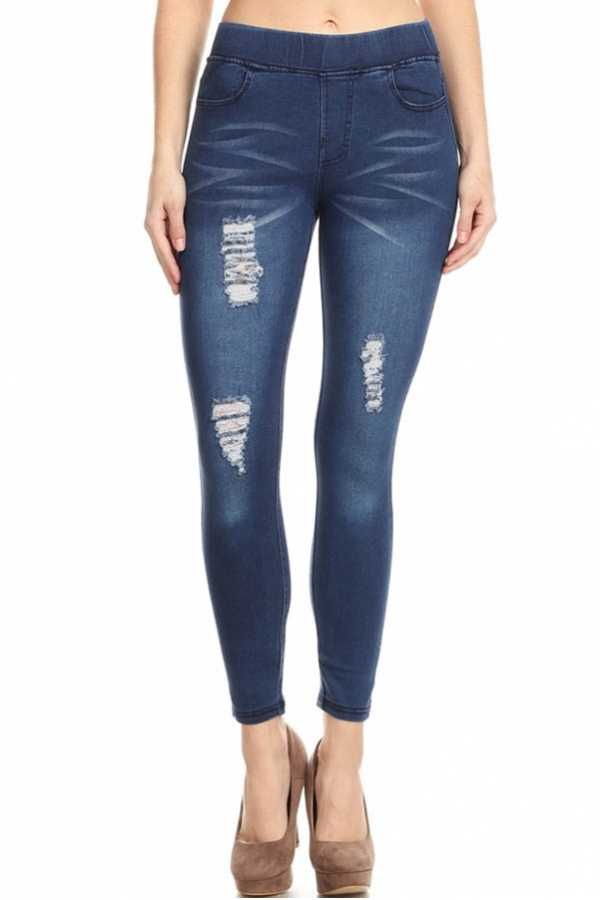 WASHED DENIM JEGGINGS