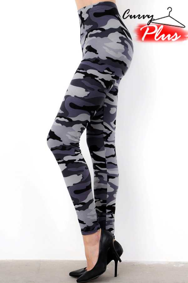 GREY CAMOUFLAGE PRINT LEGGINGS