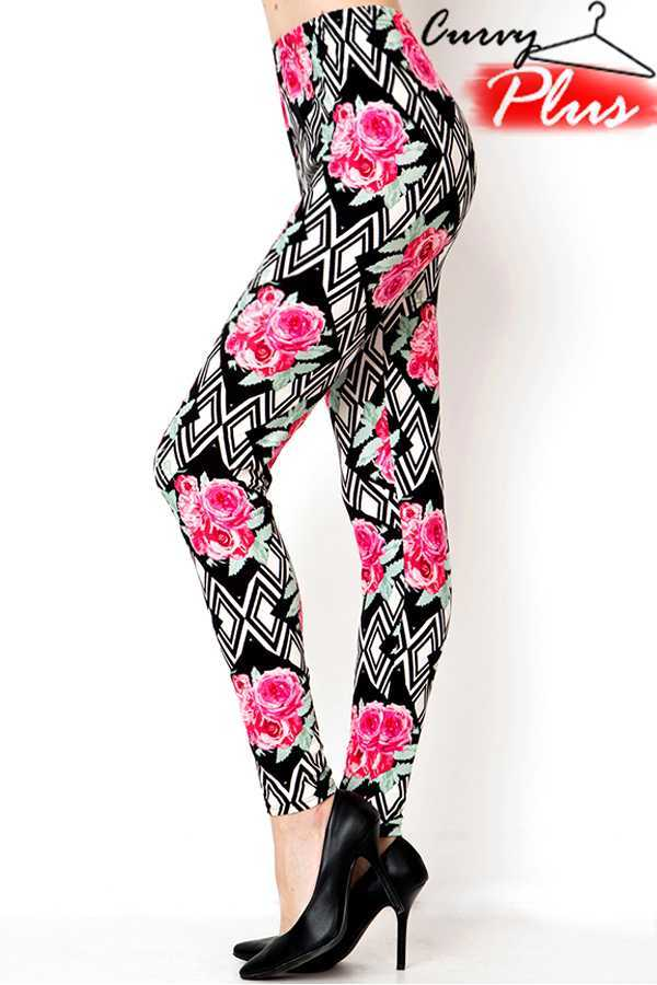PLUS SIZE FLORAL & GEOMETRIC PRINT LEGGINGS