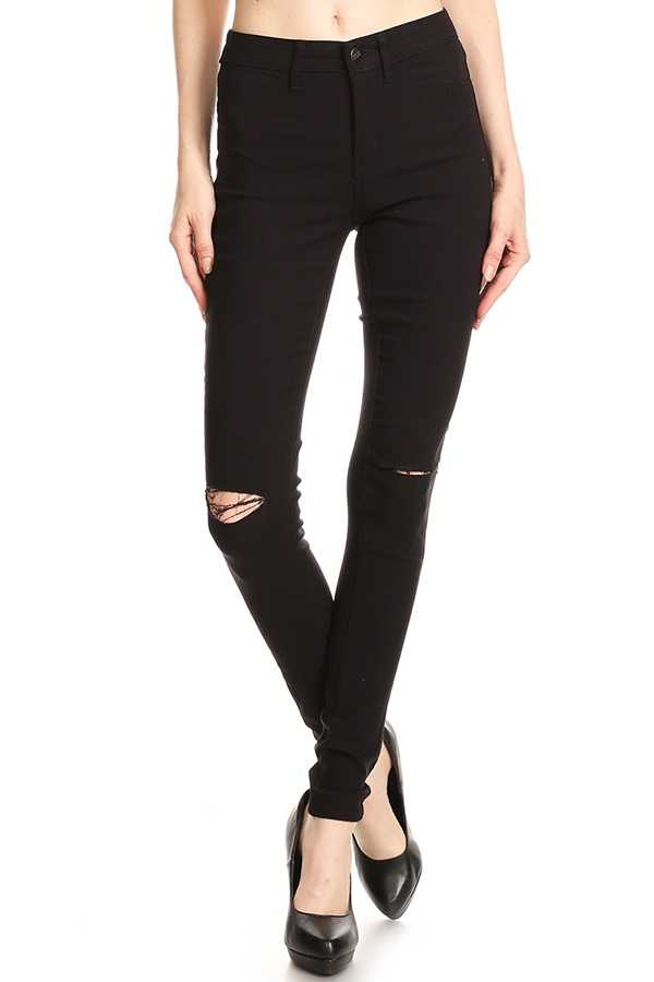 SOLID DISTRESSED SKINNY JEANS