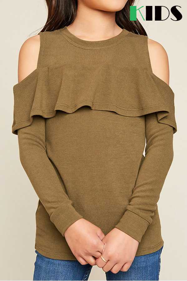 KIDS SOLID OPEN SHOULDER TOP