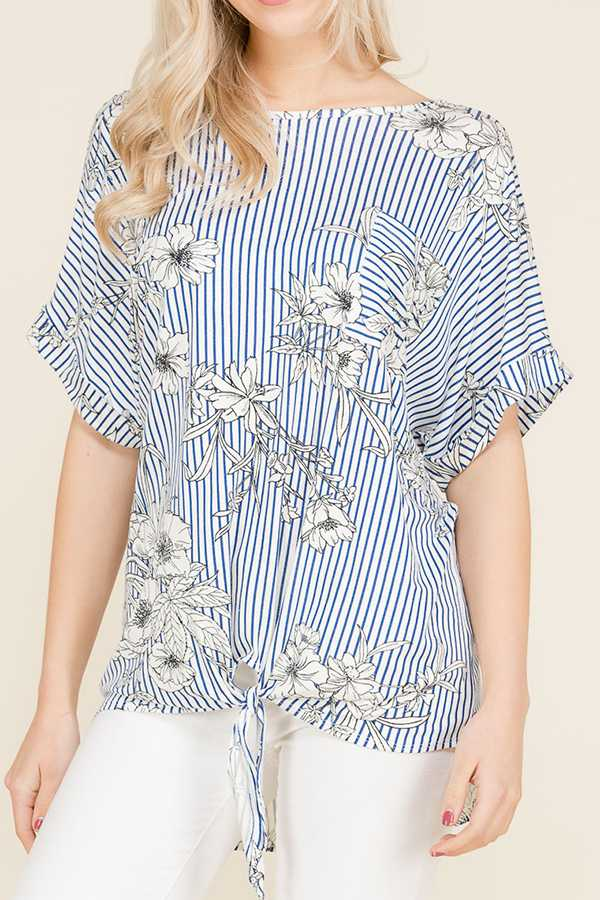 STRIPED FLORAL PRINT FRONT TIE DETAIL TOP