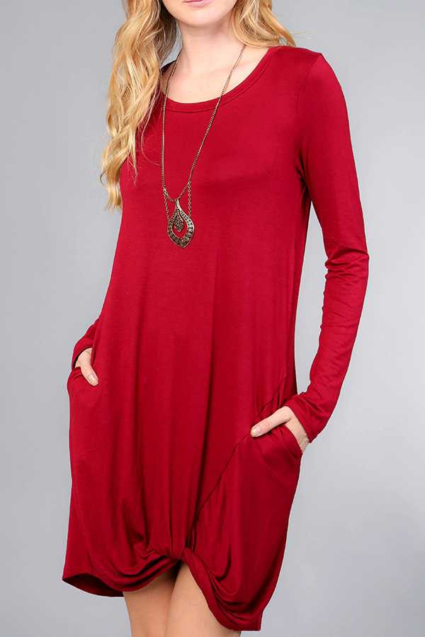 SOLID FRONT KNOT DETAIL DRESS