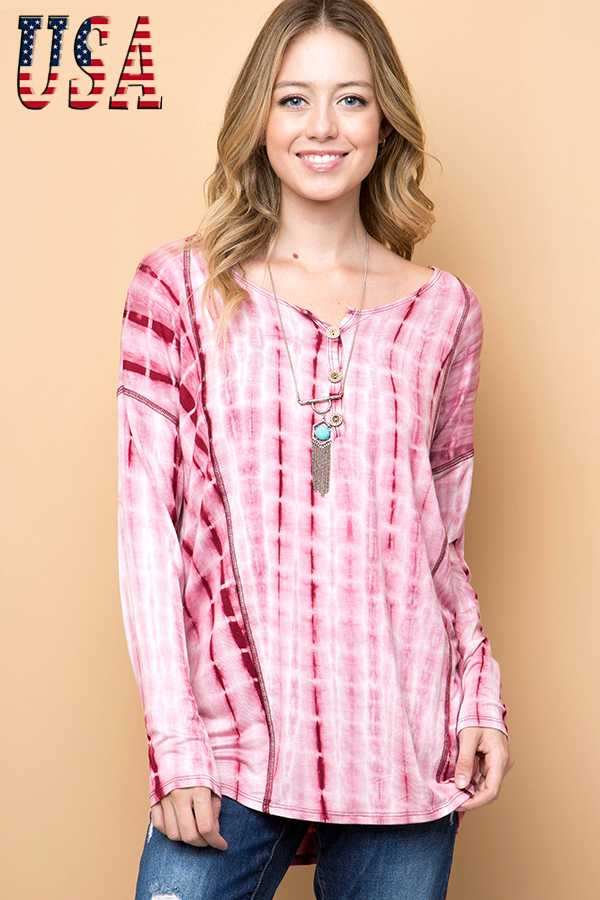 TIE DY PRINT BUTTON DOWN NECK TUNIC TOP