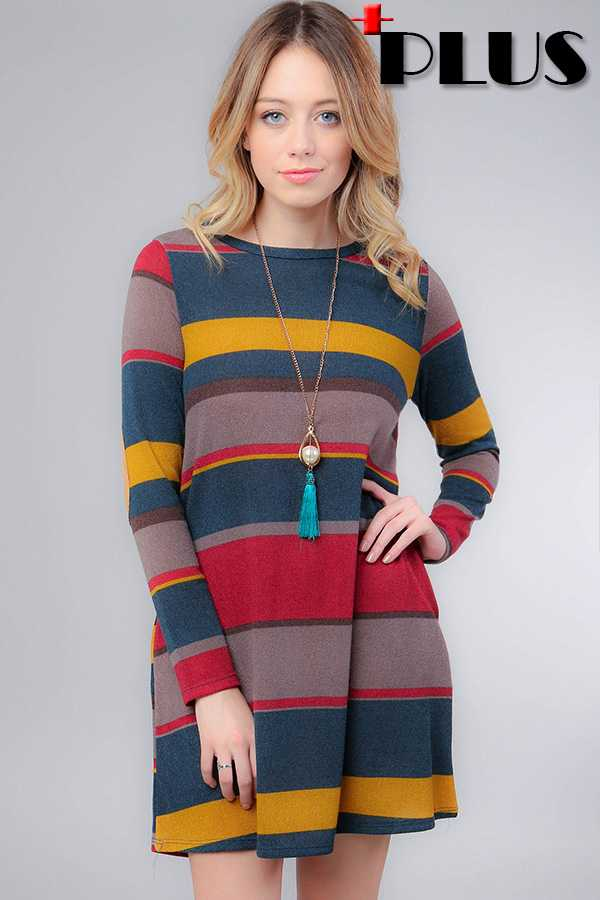 PLUS SIZE STRIPE MIDI DRESS WITH ELBOW PATCH