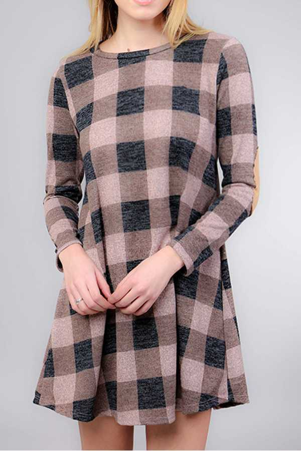 BRUSHED CHECK PRINT ELBOW PATCH DETAIL KNIT DRESS