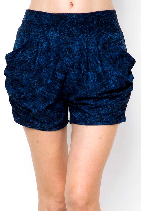 BRUSHED ACID WASHED HAREM SHORTS