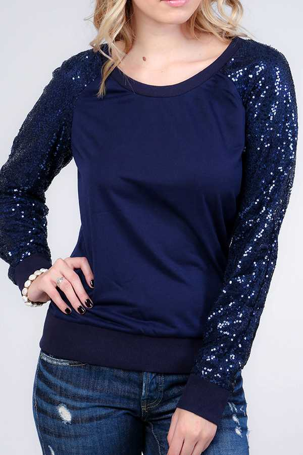 SOLID WITH SEQUINED SLEEVE RAGLAN TOP