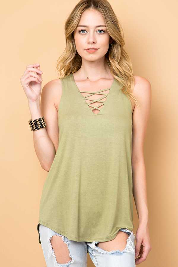 SOLID CRISSCROSS V-NECK SLEEVELESS TOP