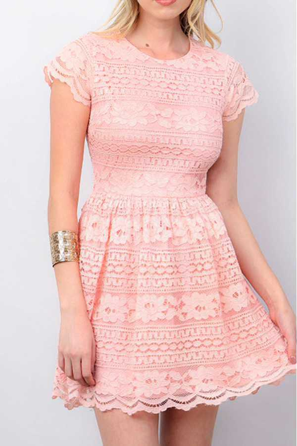 SOLID FLORAL LACE  FIT & FLARE DRESS