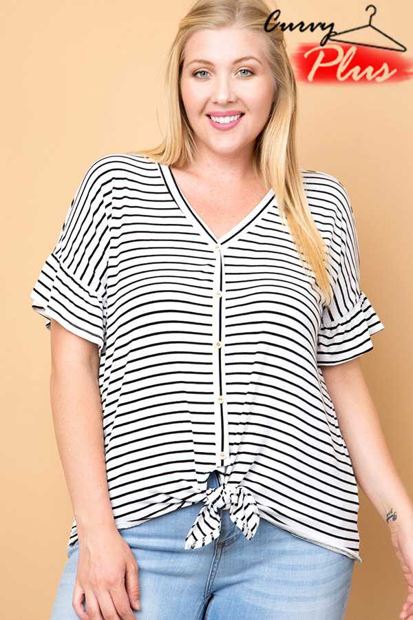 STRIPED BUTTON DOWN TIE FRONT TOP