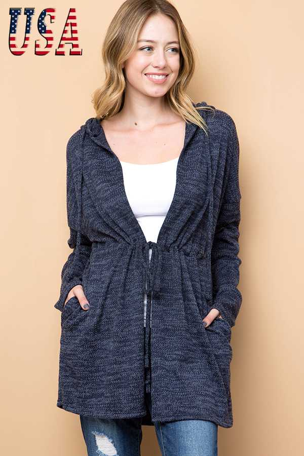 TWO TONED KNIT HOODED CARDIGAN