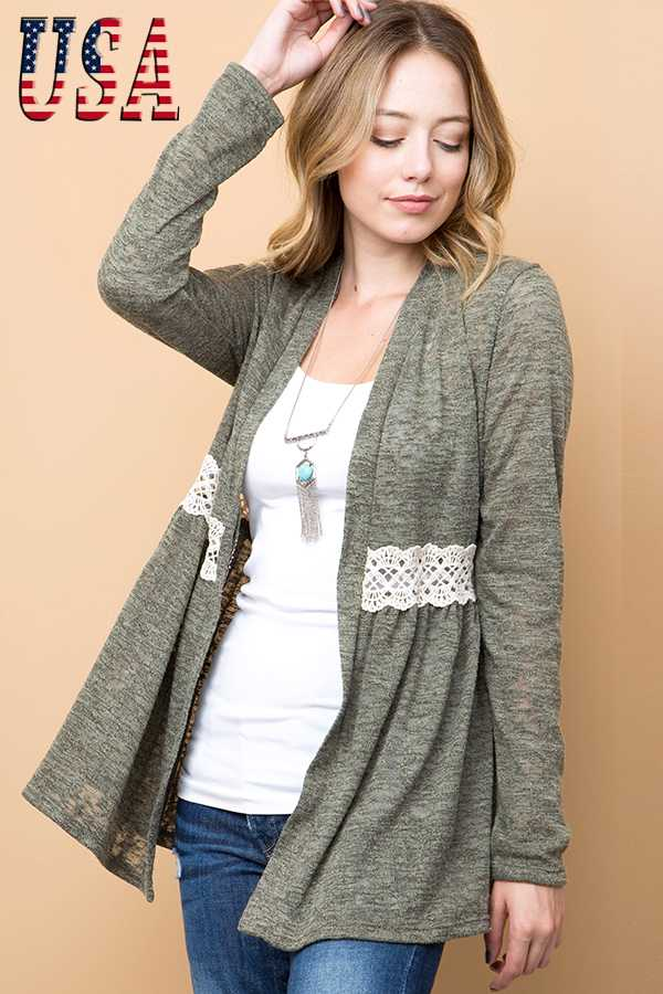 BRUSHED SOLID CROCHET TRIM BURNOUT KNIT CARDIGAN