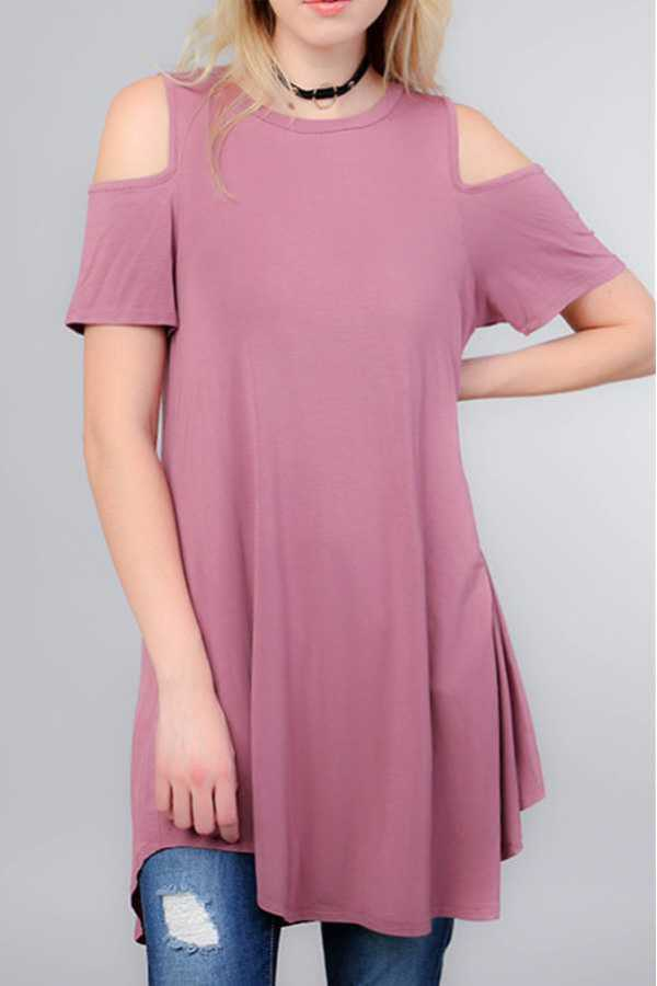 MODAL COLD SHOULDER ROUNDED HEM TUNIC TOP
