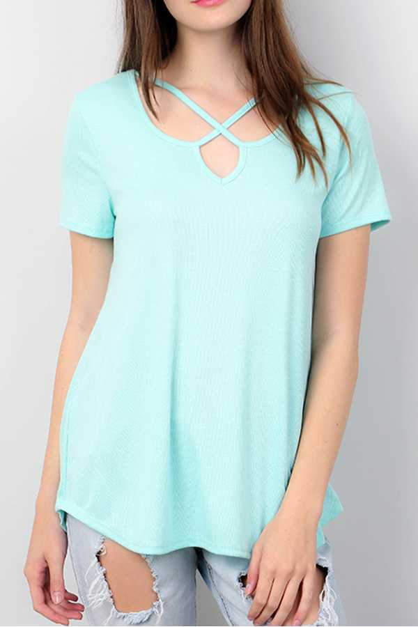 SOLID X STRAP NECK TOP
