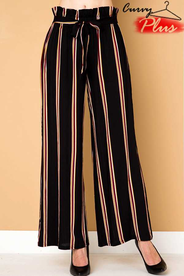 STRIPED PAPER BAG WAIST PALAZZO PANTS