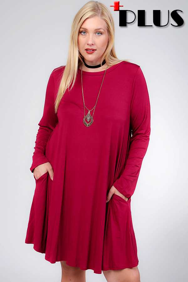 PLUS SOLID MODAL LONG SLEEVE SWING DRESS