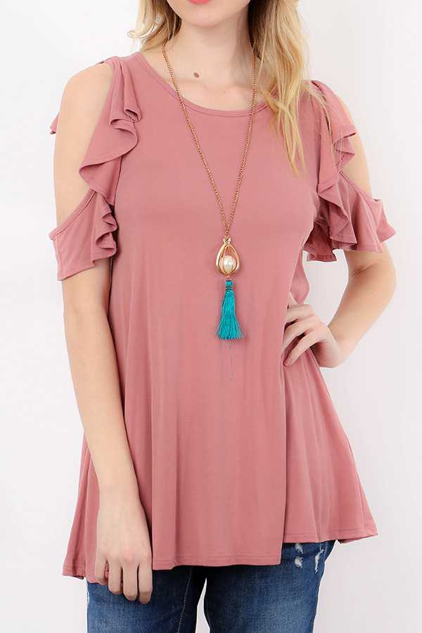 SOLID WATERFALL RUFFLED COLD SHOULDER TUNIC