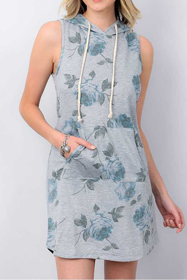 FLORAL PRINT HOODED SLEEVELESS JERSEY DRESS