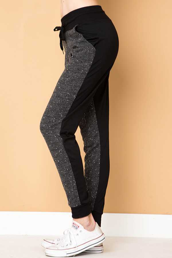 HEATHERED CONTRAST BACK DRAWSTRING JOGGER