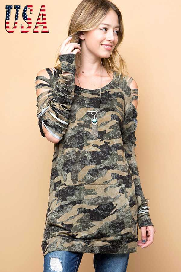 CAMO PRINT FRENCH TERRY LASER CUT PULLOVER
